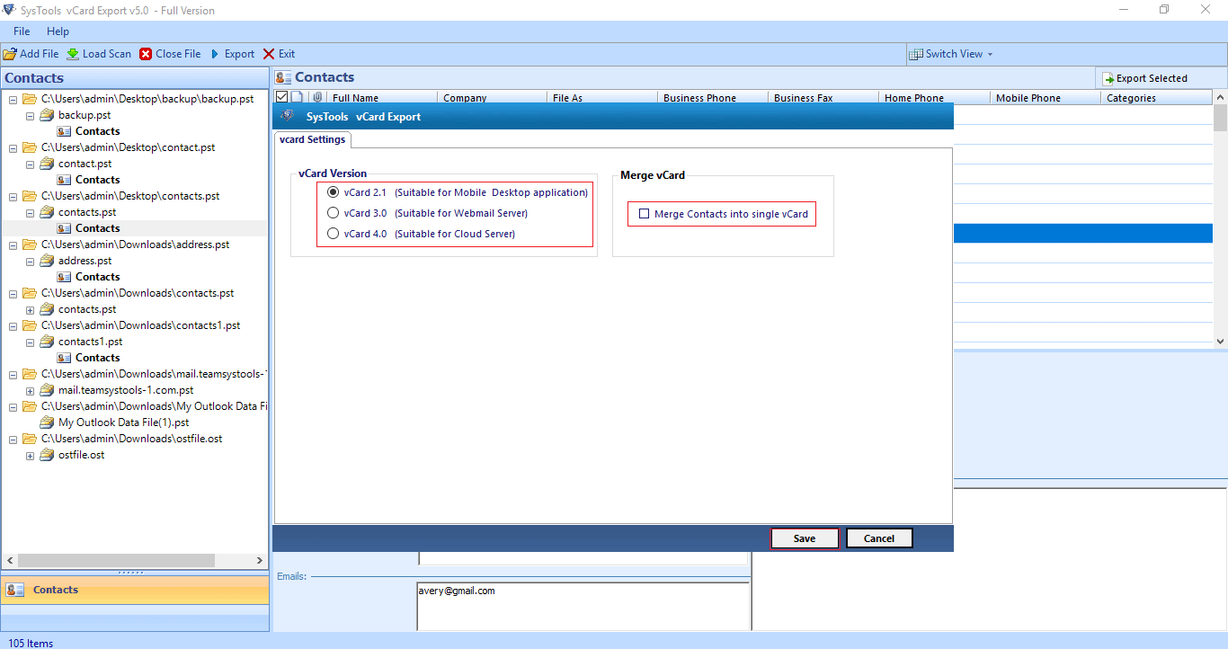 Merge contacts into single vCard