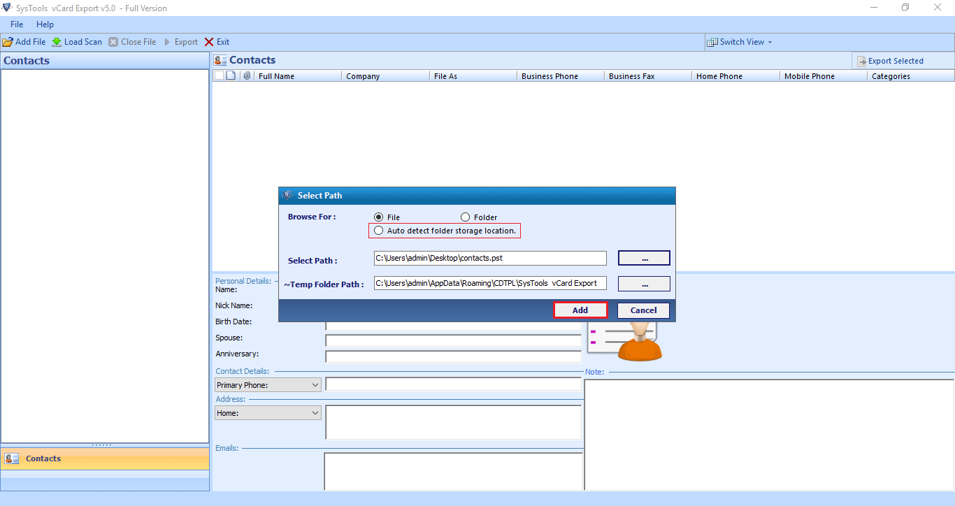 select a psd file to export outlook contacts