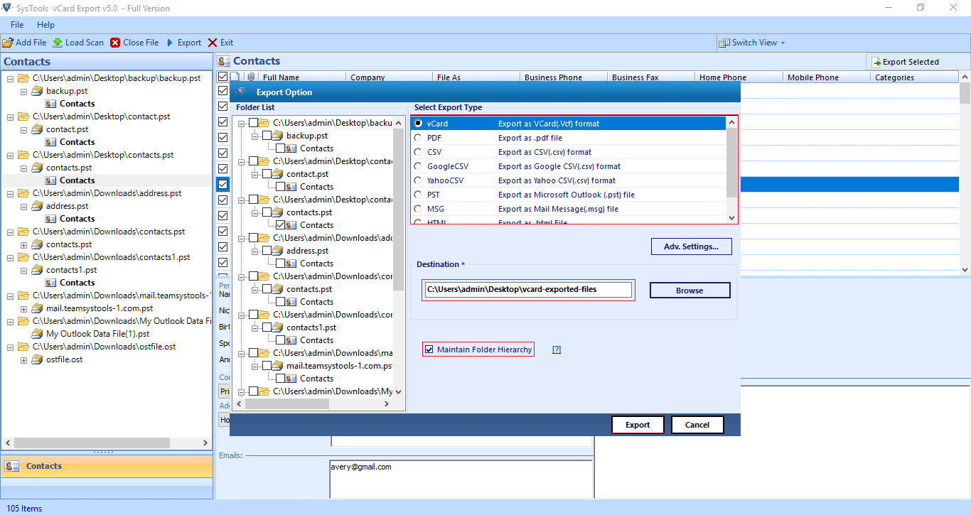 process to export Outlook contacts to single VCF file begins