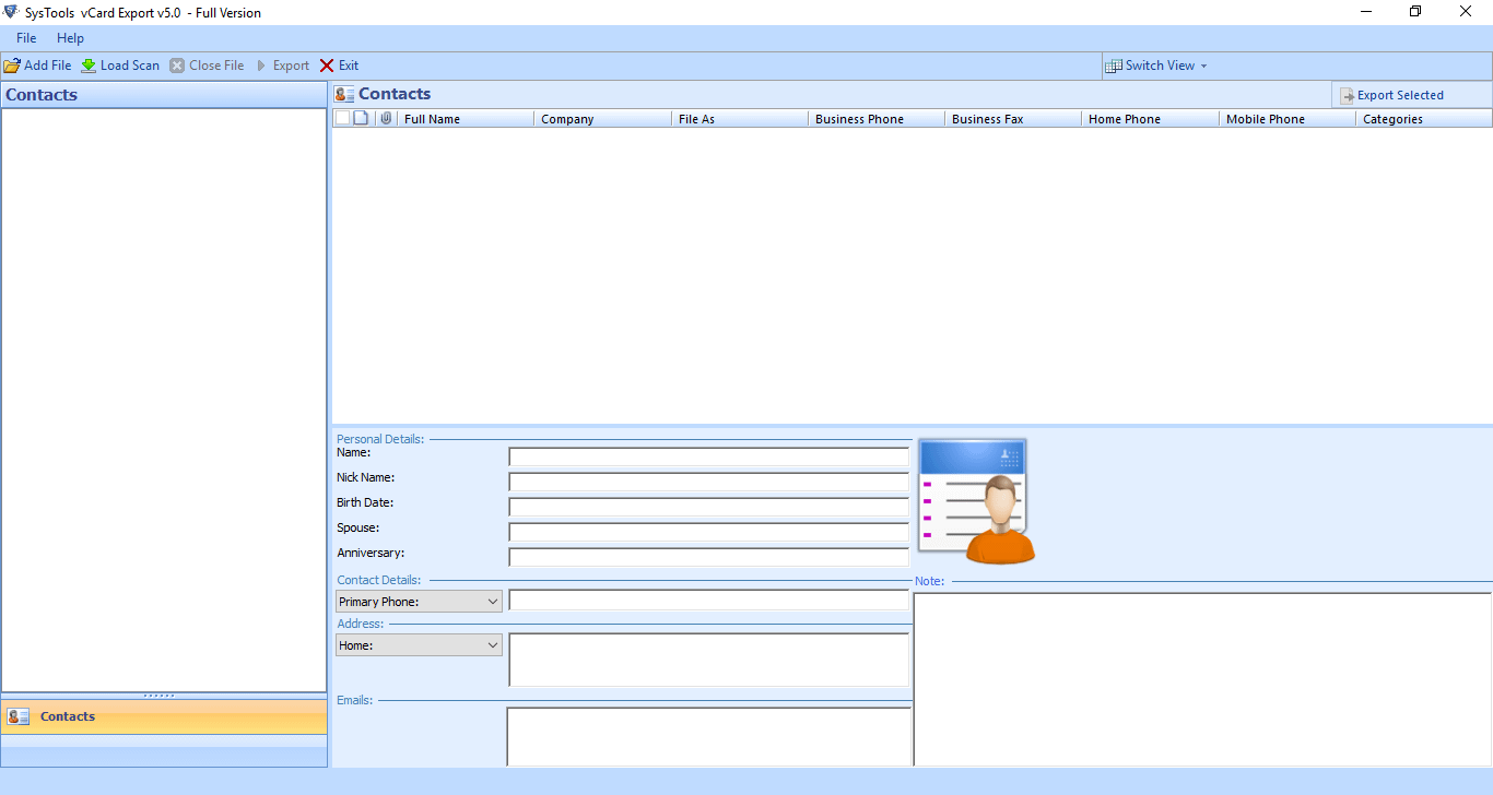 PCVITA Outlook to vCard converter software