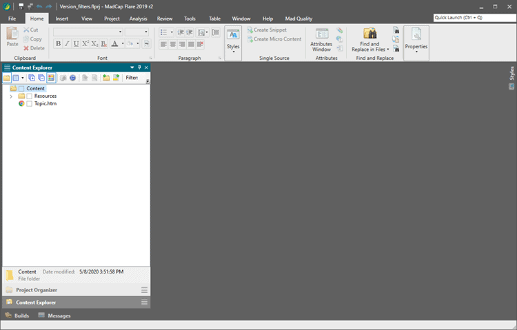A screenshot showing newly created project  in madcap flare using the Empty template.