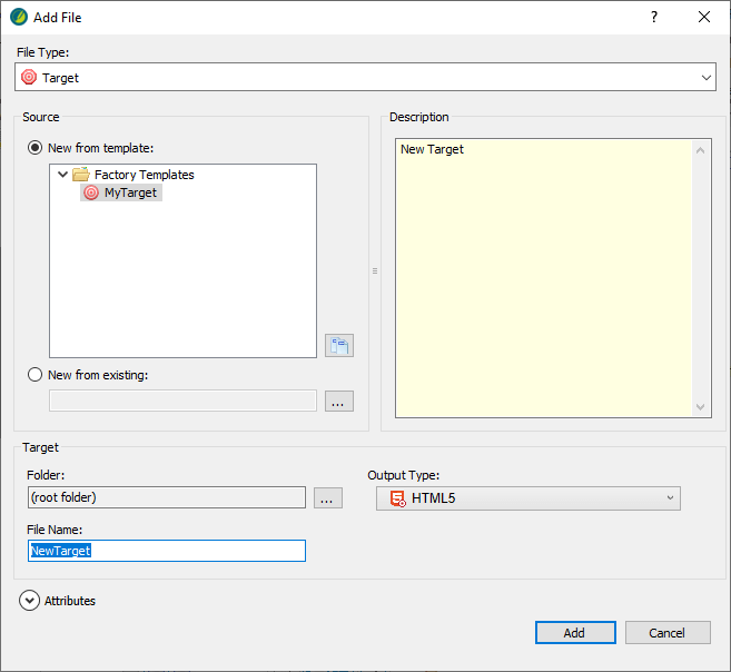 Add a target file to generate output
