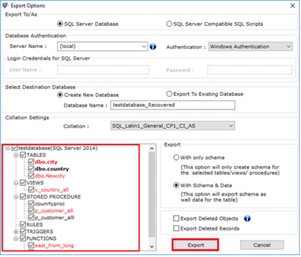 Select the required database component