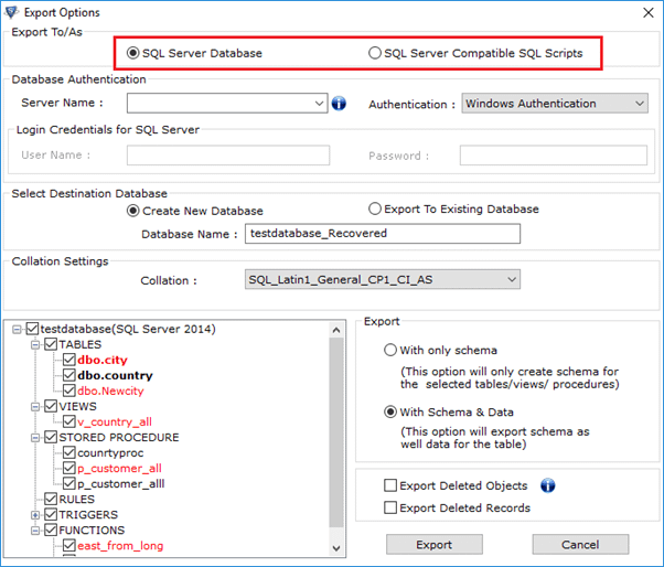 Select an export option from options available on the SQL database recovery software